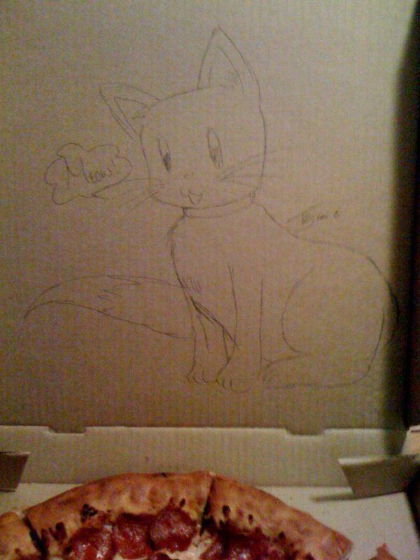 dibujos cajas pizza gato bonito