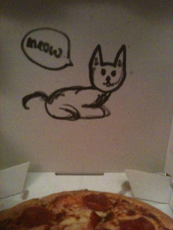 dibujos cajas pizza gato malo