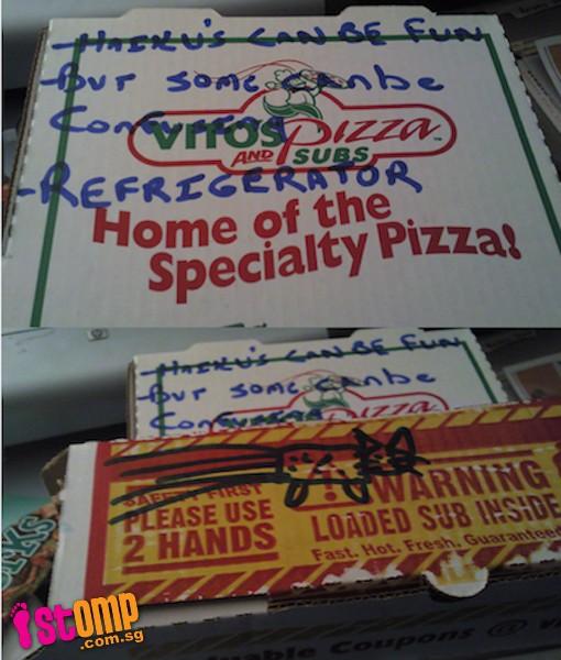 dibujos cajas pizza haiku gatos