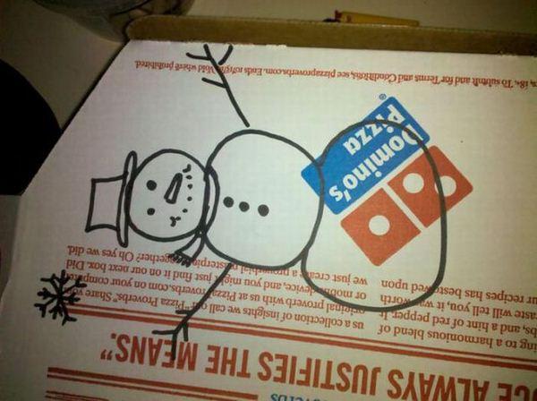 dibujos cajas pizza hombre de nieve