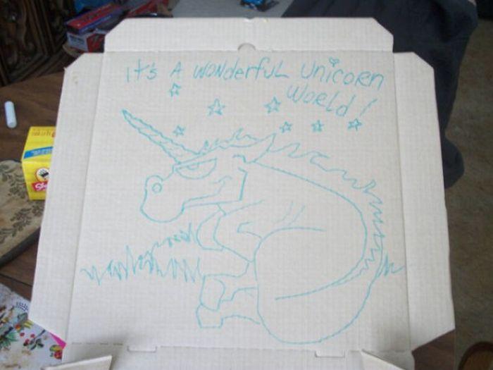 dibujos cajas pizza unicorn