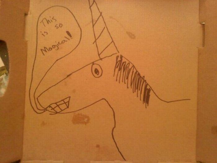 dibujos cajas pizza unicornio 2