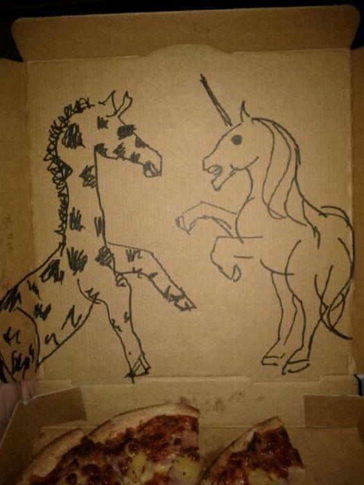 dibujos cajas pizza unicornio jirafa
