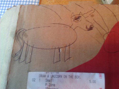 dibujos cajas pizza unicornio