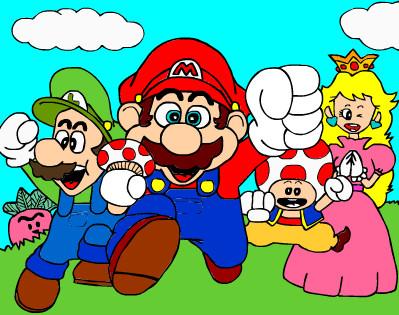 Juego de pintar los amigos de Mario  Juegos