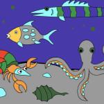 Juego de pintar el fondo del mar