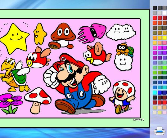 Juego de pintar a los personajes de Mario Bros  Juegos