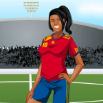 Juego de vestir con ropa de fútbol