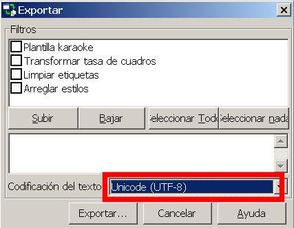 aegisub exportar subtitulo