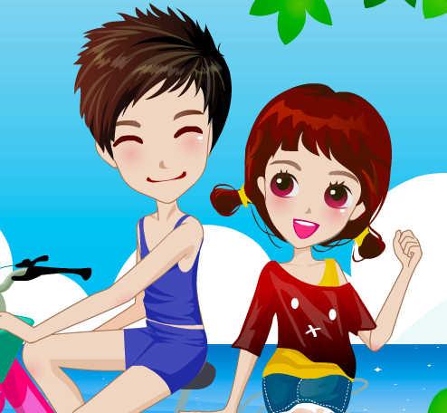 juego-vestir-novios-playa