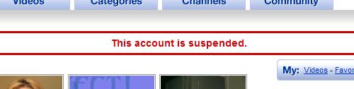 cuenta youtube suspendida