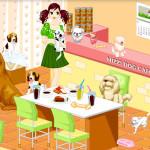 Juego en la cafetería para perros