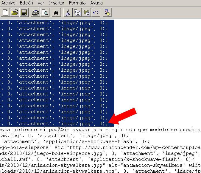 copiar texto sql base datos