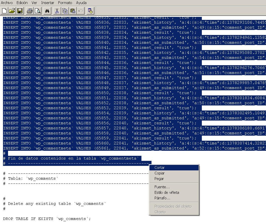 cortar texto sql base datos