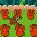 Juego con el perro jardinero