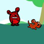 Juego con el perro recoge palos