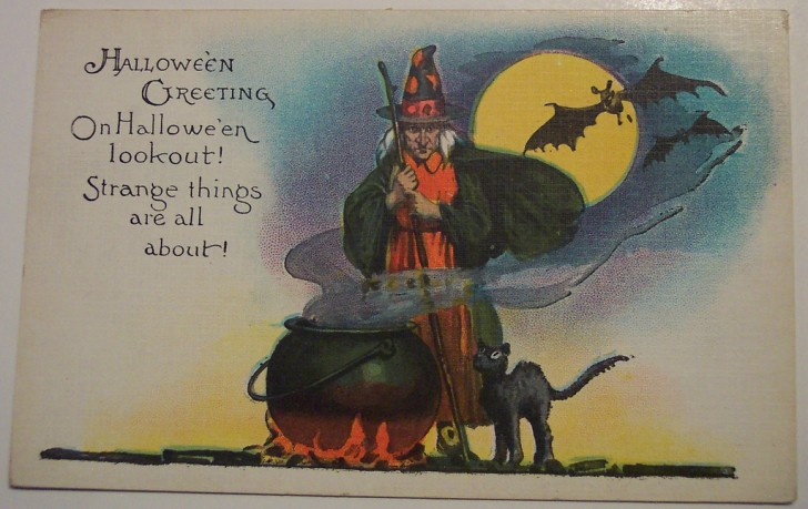 Postal Halloween retro 123