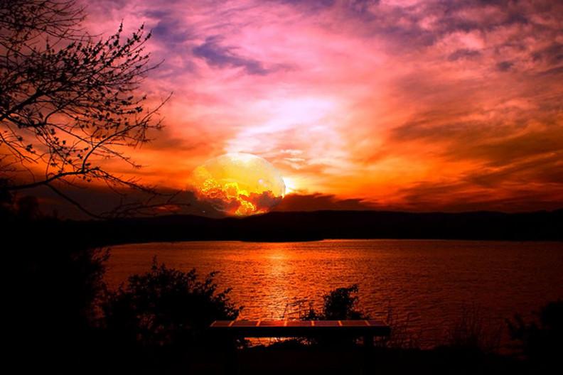 atardecer lago sicilia