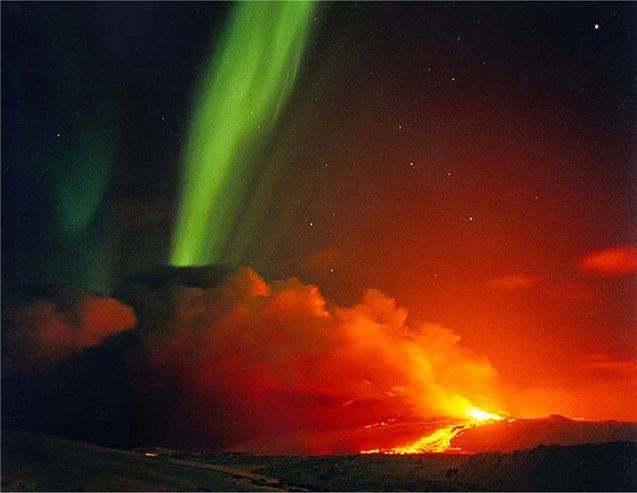 aurora boreal volcan Sudamerica