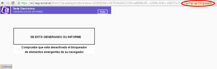 error pop up bloqueado vida laboral