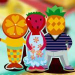Juego de decoracion en la casa de fruta