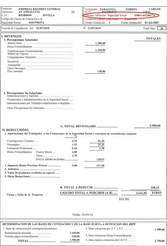 nomina numero afiliacion seguridad social