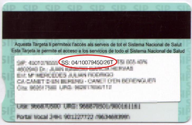 numero seguridad social tarjeta sanitaria