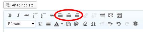 alineacion wordpress