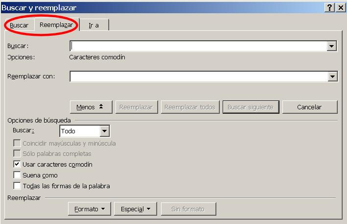 buscar reemplazar word microsoft