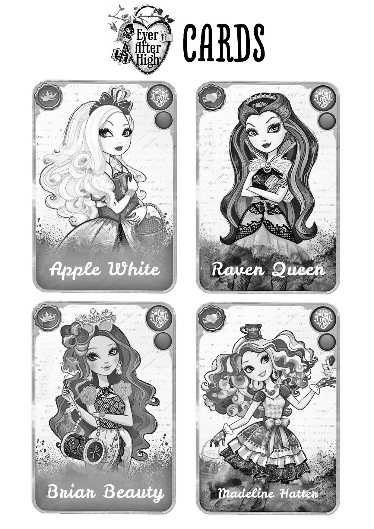 pintar cartas ever after high