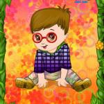 Juego con el bebé y las flores