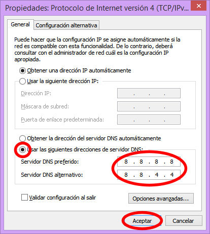 introducir dns windows
