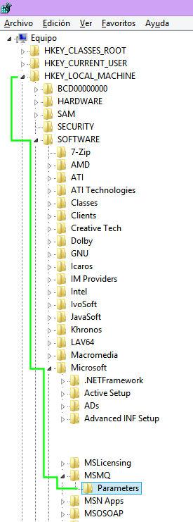 regedit msmq parameters