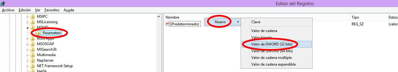 registro parameters nuevo valor