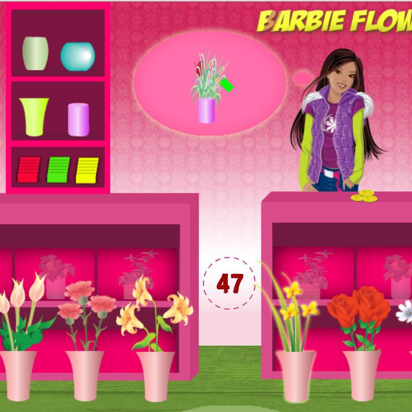 juego barbie tienda flores