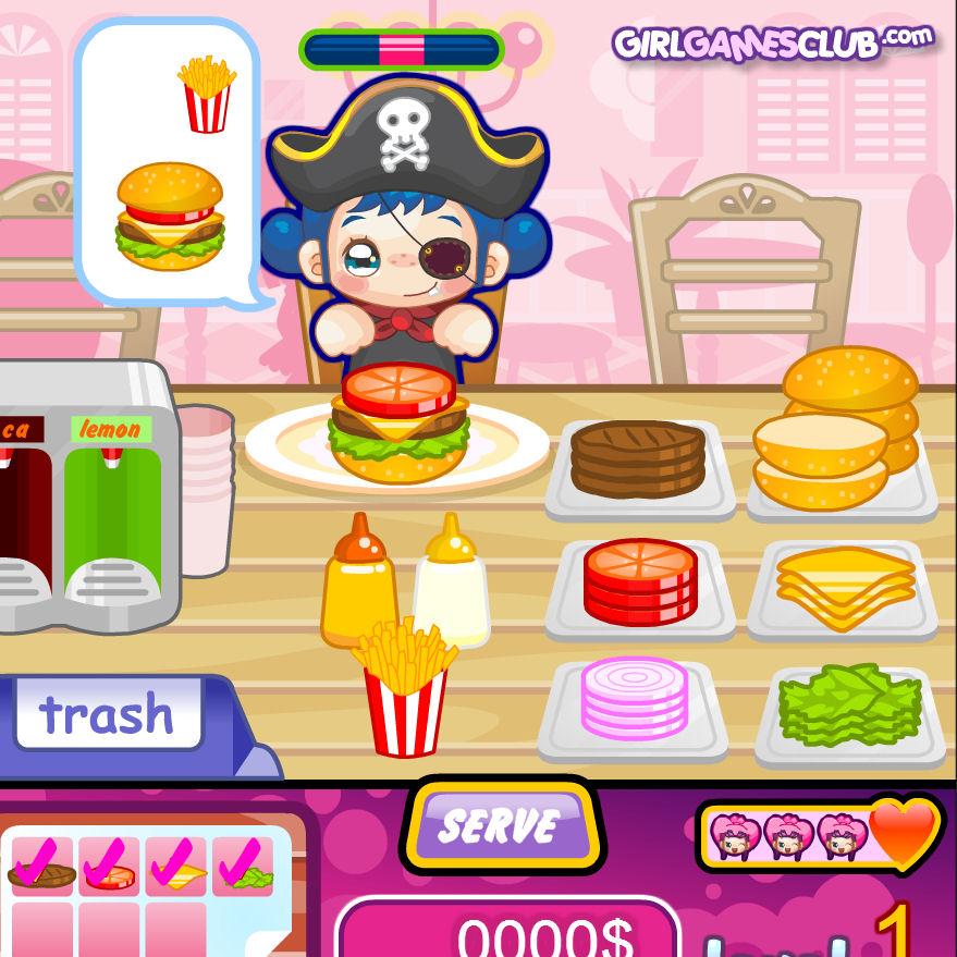 Juego de cocinar y servir hamburguesas Juegos