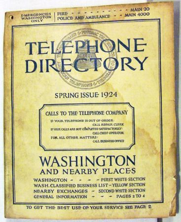 guia telefonica 1924 Washington