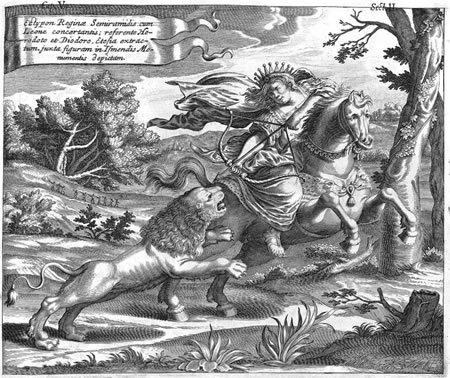 Semiramis cazando leon