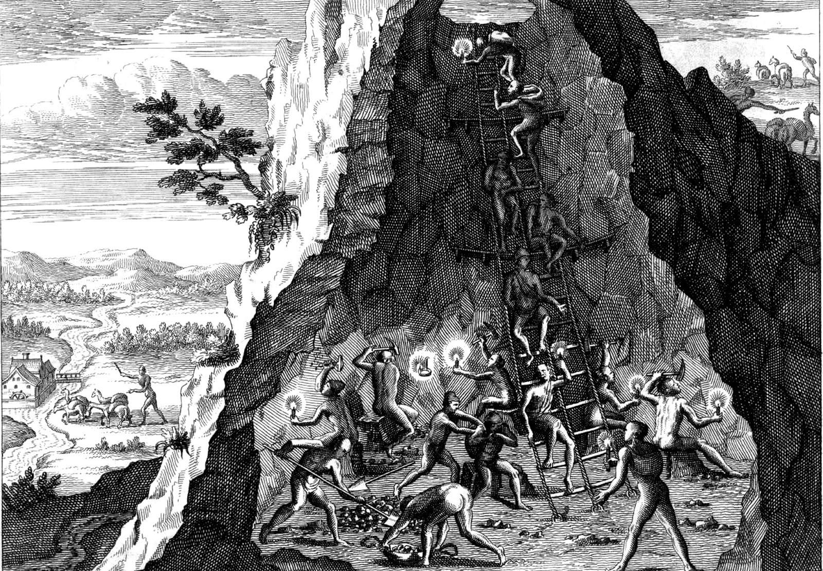 Mineros Potosi Theodoor de Bry Novi Orbis 1596