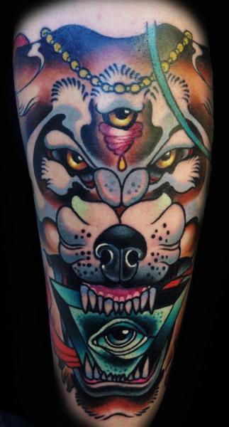 new school tattoo wolf