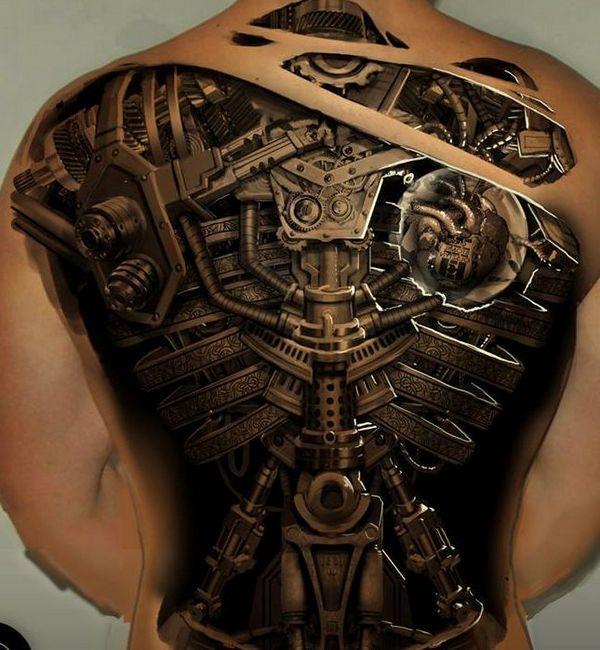 tatuaje biomecanico espalda