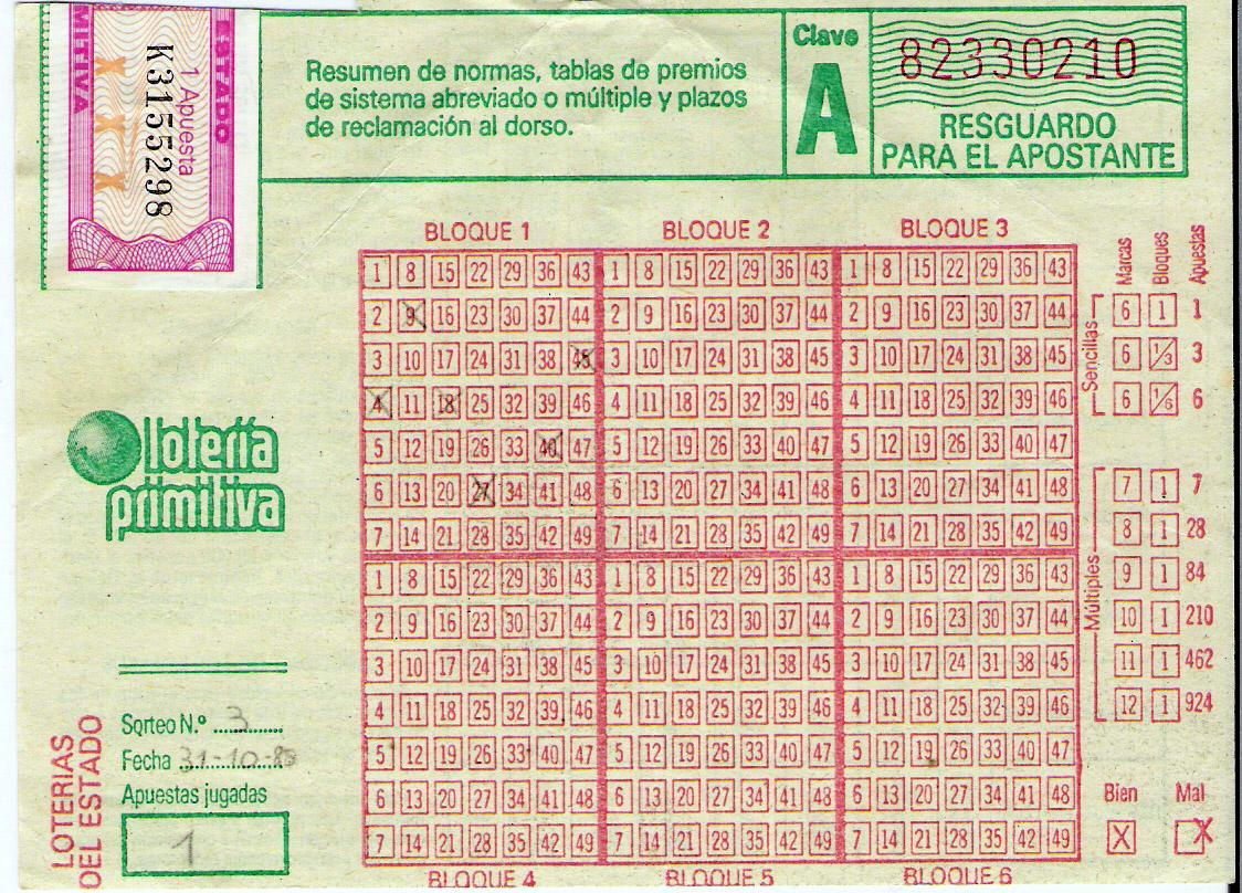 loteria primitiva 1985