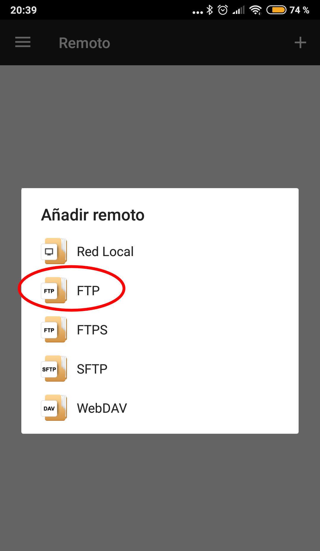 ftp android configurar
