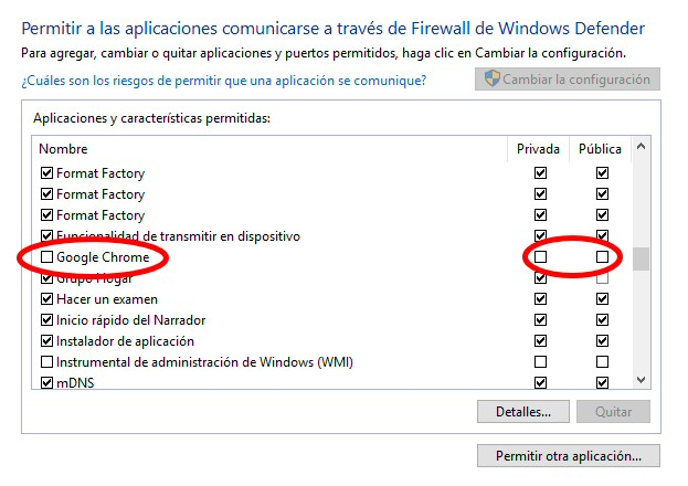 chrome firewall deshabilitar