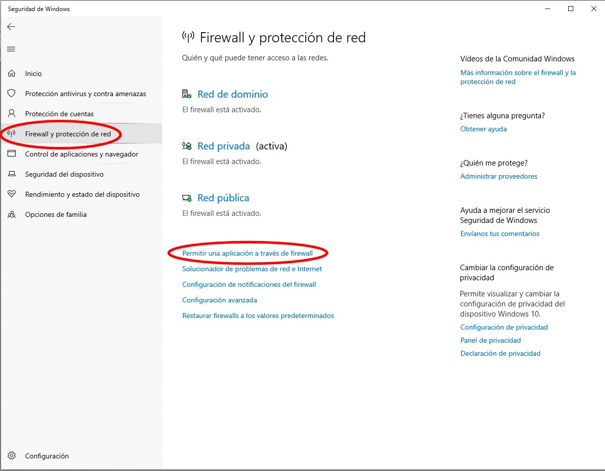 firewall aplicaciones windows