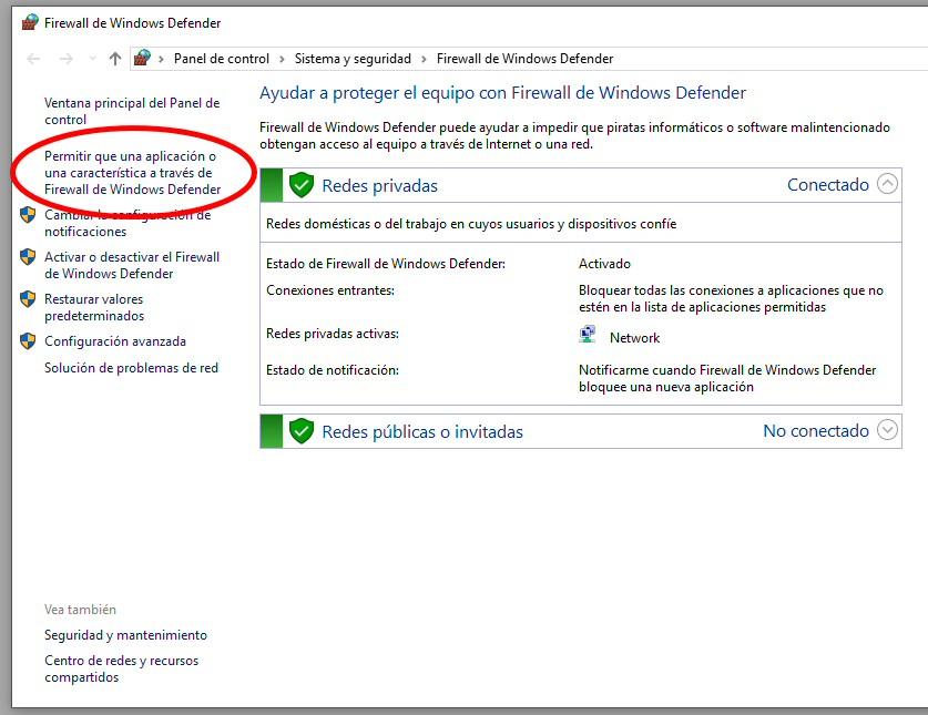 firewall permitir aplicacion