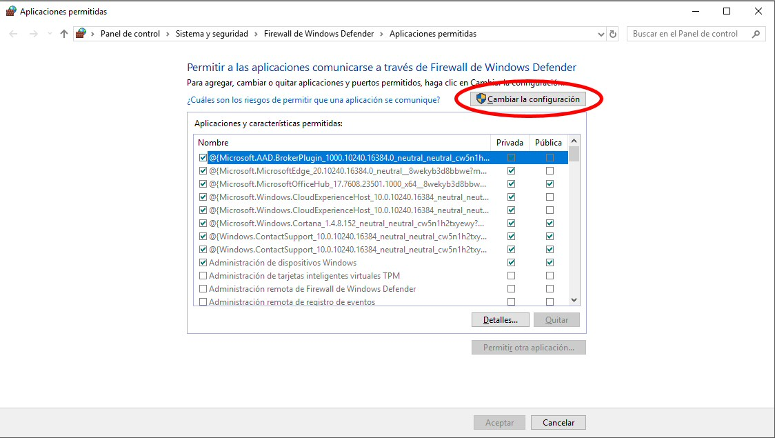 permitir aplicaciones comunicarse firewall windows defender