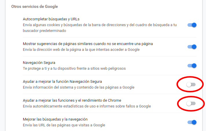 chrome enviar estadisticas