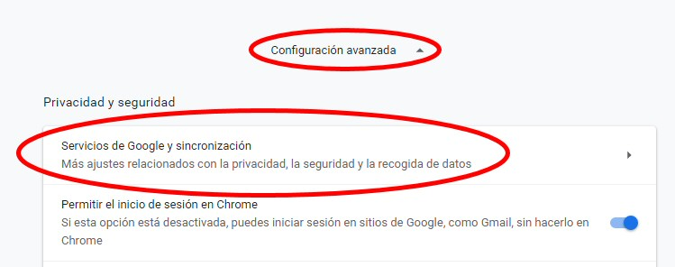 chrome servicios google sincronizacion