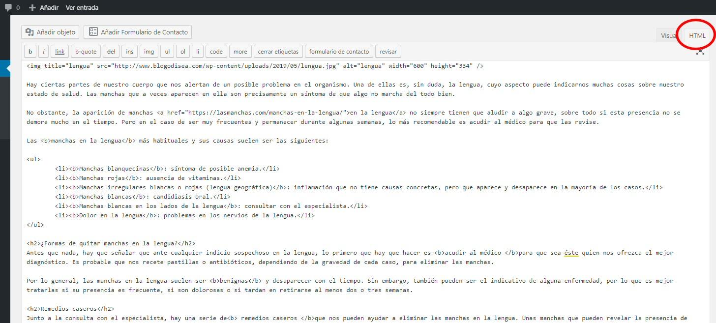 codigo html wordpress limpio